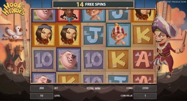 Pirate feature game board featuring 15 free spins.