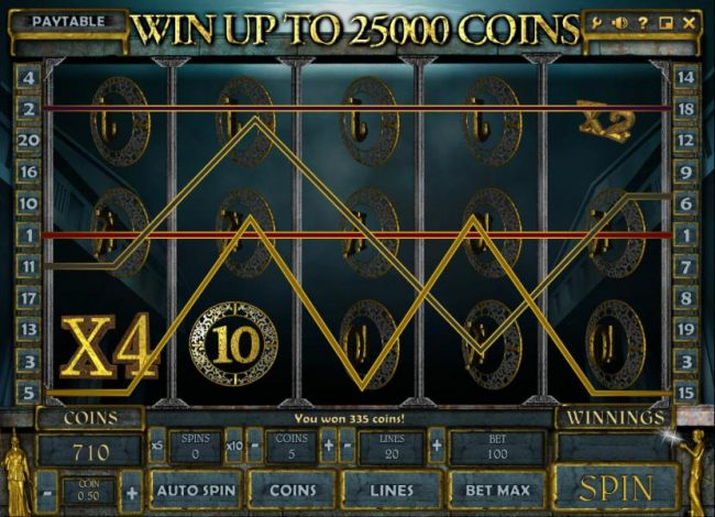 multiple wiing paylines triggers a 335 coin big win - Casino Bonus Beater