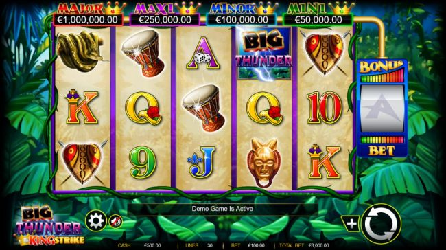 Main game board featuring five reels and 30 paylines with a $600,000 max payout. - Casino Bonus Beater