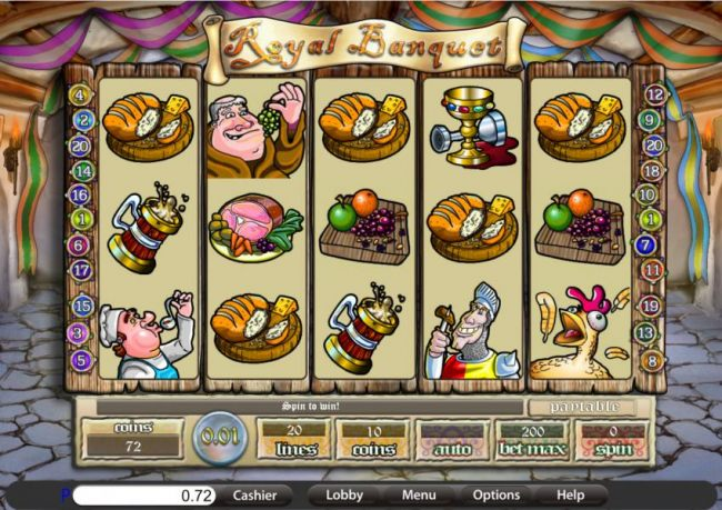 Casino Bonus Beater - main game board featuring five reels and twenty paylines