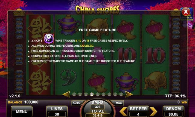 3, 4 or 5 yin-yang-scatter symbols trigger 8, 10 or 15 free games respectively with all wins doubled during feature