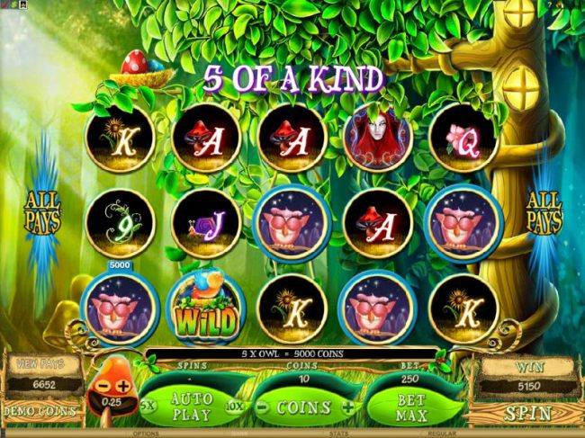 Casino Bonus Beater - here is an example of a 5 of a kind paying out a whooping 5000 coins