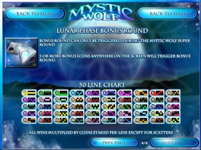 Lunar Phase Bonus Round game rules and Payline Charts