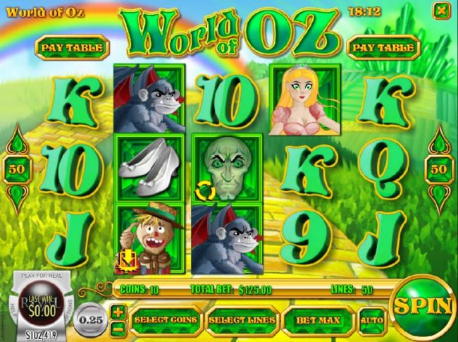 Main game board featuring five reels and 50 paylines with a $750 max payout - Casino Bonus Beater