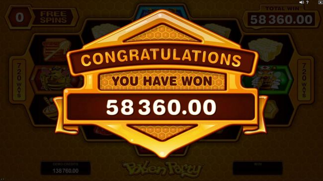 Free Spins feature pays out a total of 58,360.00