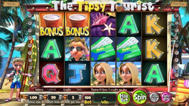 Main game board featuring five reels and 20 paylines with a $8,750 max payout