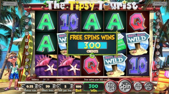 Free Spins Feature pays out a total of 300 credits.