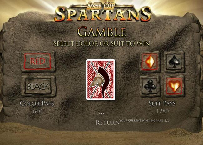 Gamble Feature - To gamble any win press Gamble then select Red or Black or Suit - Casino Bonus Beater