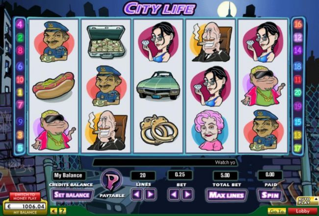 Casino Bonus Beater - Main game board featuring five reels and 20 paylines with a $15,000 max payout