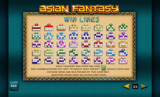 Payline Diagrams 1-40. Only highest win pays per line. Wincombinations pay left to right only except scatter which pays any. - Casino Bonus Beater