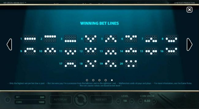 Payline Diagrams 1-20