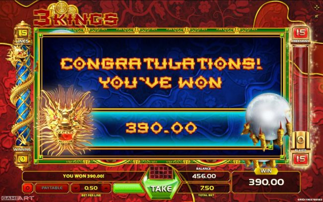 Total Free Spins Payout 390 coins