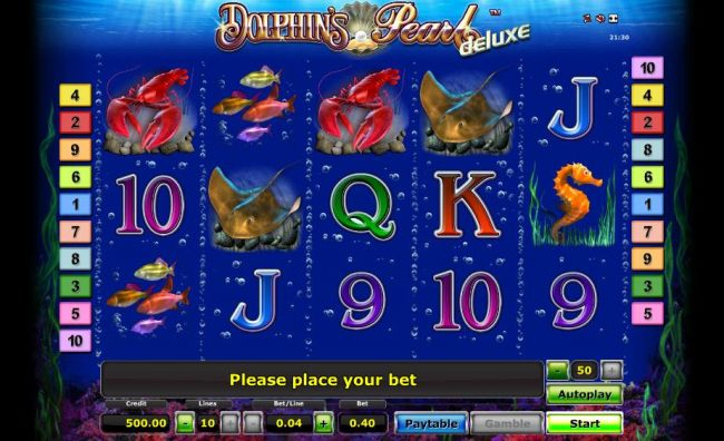 main game board featuring five reels, ten paylines and a gamble feature - Casino Bonus Beater