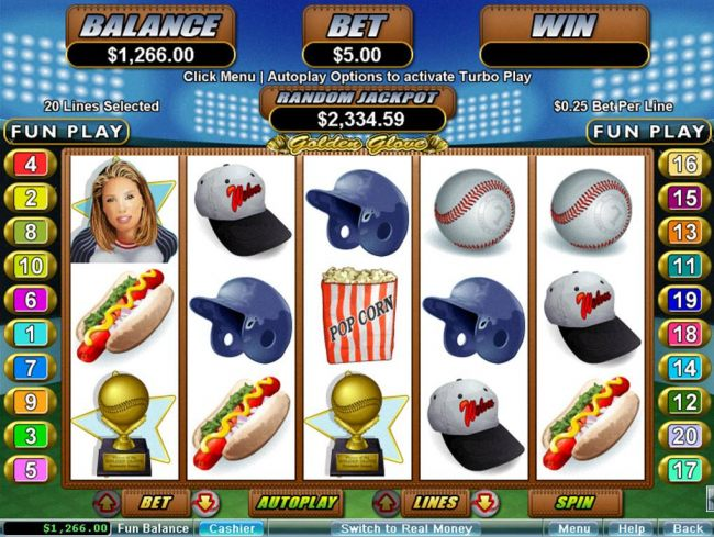 A baseball sports themed main game board featuring five reels and 20 paylines with a $250,000 max payout - Casino Bonus Beater