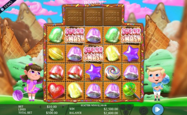 Three Sugar Smash scatter symbols triggers the free spins feature.