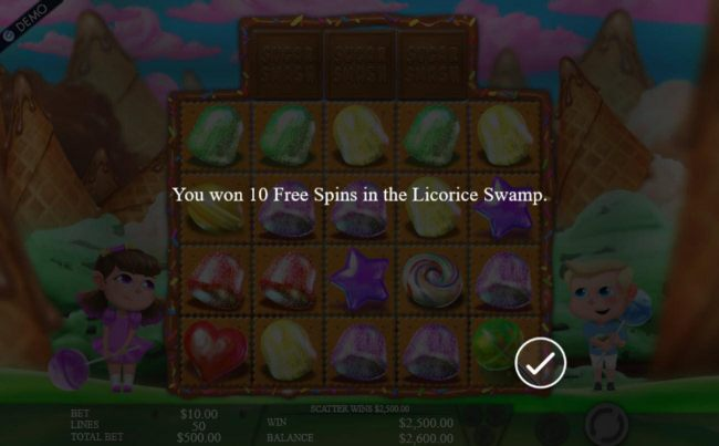 10 Free Spins in the Licorice Swamp awarded. - Casino Bonus Beater