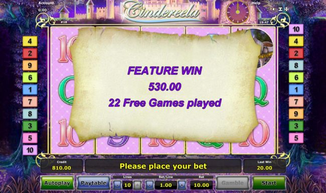 Casino Bonus Beater - Free Games feature pays out a total of 530.00 after completing 22 free spins.