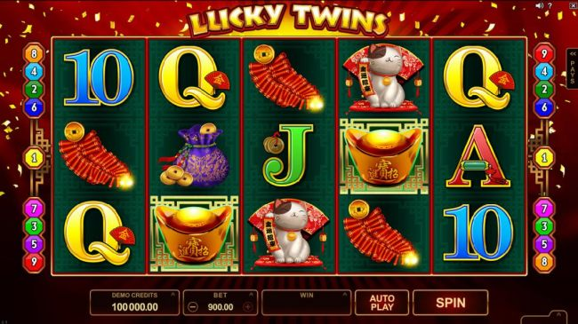 Casino Bonus Beater - Main game board featuring five reels and 9 paylines with a $500,000 max payout