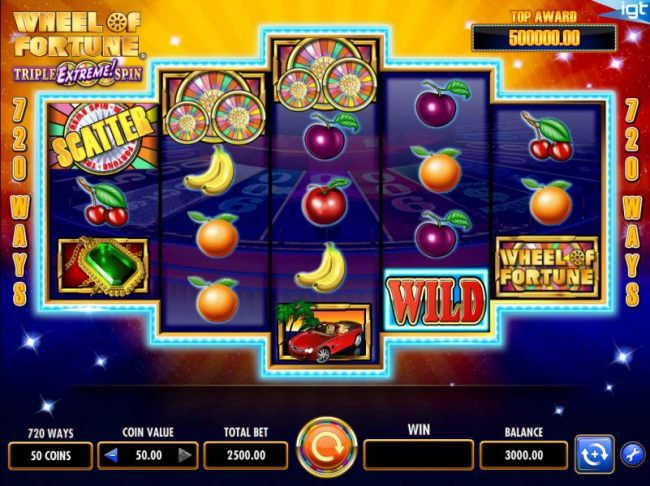 Main game board featuring five reels and 720 winning combinations with a $250,000 max payout
