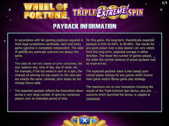 Payback Information - The RTP for this game is 92.00% to 96.08%