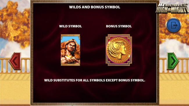 Hercules represents both the Wild and Bonus symbols.