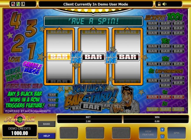 Casino Bonus Beater - main game board featuring 3 reels and a single payline