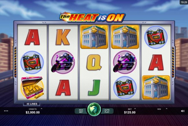 Casino Bonus Beater - Main game board featuring five reels and 45 paylines with a $2,500 max payout.