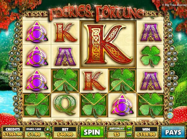 Five four-leafed clover icons triggers a 120.00 big win. - Casino Bonus Beater