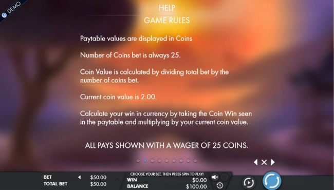 Paytable values are displayed in coins. Number of coins bet is 25.