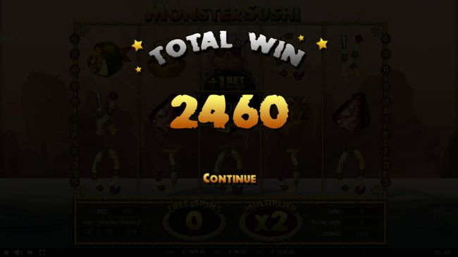 Total free spins payout 2460 credits