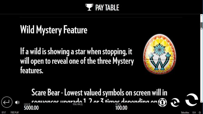 Wild Mystery - If a wild is showing a star when stopping, it will open to reveal one of the Mystery features. by Casino Bonus Beater