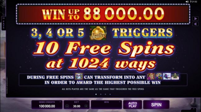 Win up to 88,000.00! 3, 4 or 5 scatter symbols trigger 10 free spins at 1024 ways! - Casino Bonus Beater