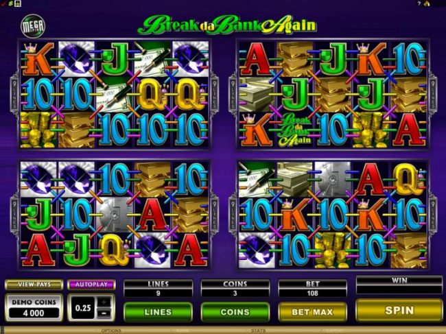 there are 4 games featuring 5 reels and 9 paylines each by Casino Bonus Beater