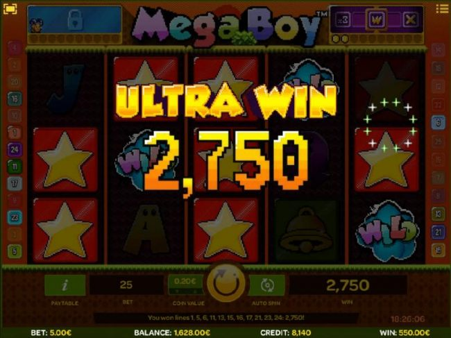 A Level 2 Power-Ups feature triggers a 2,750 ultra win!