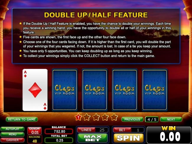 double up / half feature rules