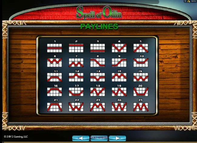 Payline Diagrams 1-25 by Casino Bonus Beater