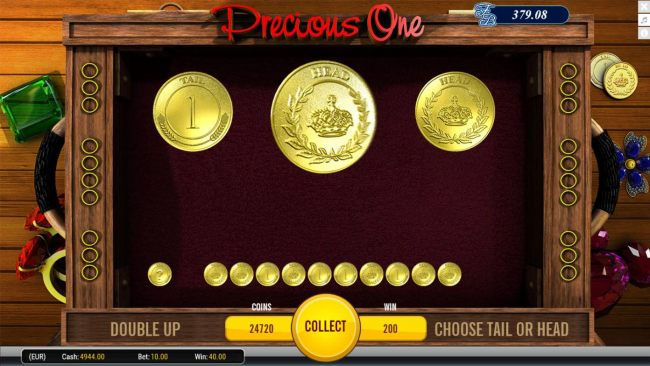 Double Up Feature - To gamble any win press Gamble then select Heads or Tails