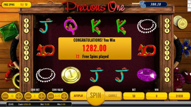 Total free spins payout 1282.00