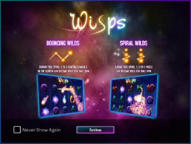 game features include bouncing wilds and spiral wilds
