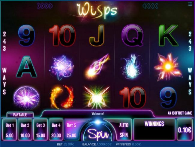 Main game board featuring five reels and 243 ways to win with a $1,000 max payout - Casino Bonus Beater