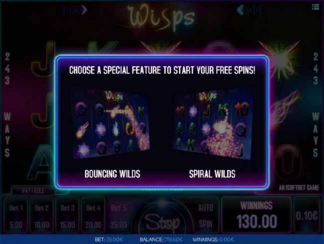 Choose a special feature to start your free spins - Bouncing Wilds or Spiral Wilds - Casino Bonus Beater
