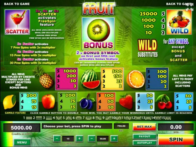 Casino Bonus Beater - Slot game symbols paytable featuring fruit themed icons.