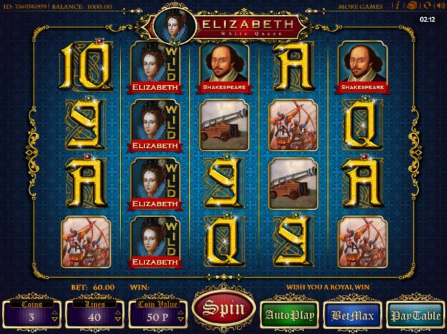 A royal themed main game board featuring five reels and 40 paylines with a $600 max payout
