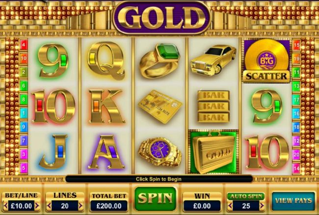 Casino Bonus Beater - Main game board featuring five reels and 20 paylines with a $25,000 max payout