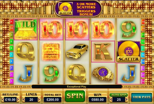 Multiple winning paylines triggers a 680.00 big win!