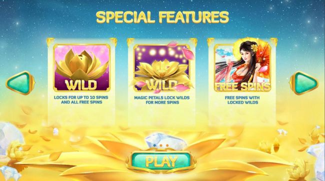 Casino Bonus Beater - Special Features - Wild locks for up to 10 spins and all free spins. magic petals lock wilds for more spins.  Free Spins with locked wilds.
