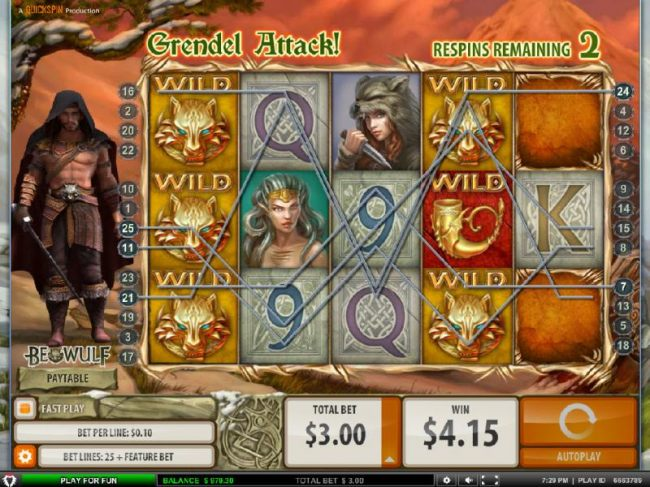 Locked Wilds trigger multiple winning paylines during the Grendel Attack feature. by Casino Bonus Beater