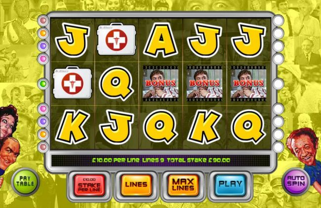 Main game board featuring five reels and 9 paylines with a $250,000 max payout by Casino Bonus Beater