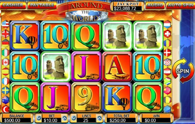 Casino Bonus Beater - Main game board featuring five reels and 25 paylines with a $50,000 max payout