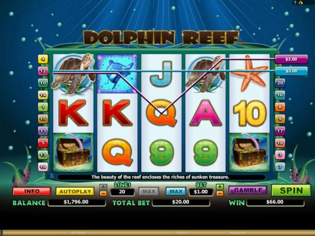 Casino Bonus Beater - multiple winning paylines and a pair of scatter symbols triggers a $66 jackpot